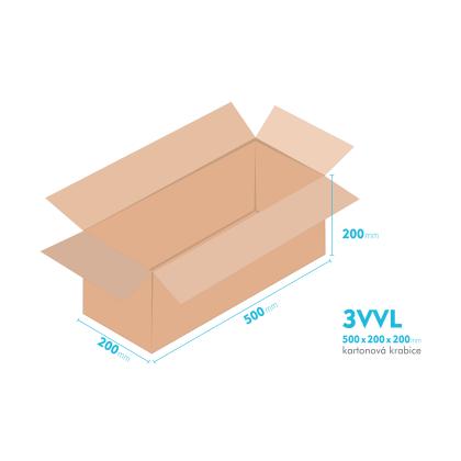 Kartonové krabice 3VVL - 500x200x200mm - vnitřní 495x195x190mm