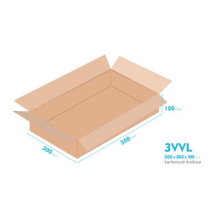 Kartonové krabice 3VVL - 500x300x100mm - vnitřní 495x295x90mm