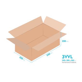 Kartonové krabice 3VVL - 500x300x200mm - vnitřní 495x295x190mm