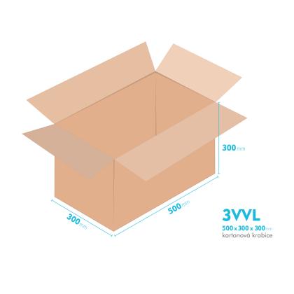 Kartonové krabice 3VVL - 500x300x300mm - vnitřní 495x295x290mm
