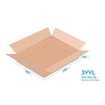 Kartonové krabice 3VVL - 500x400x100mm - vnitřní 495x395x90mm