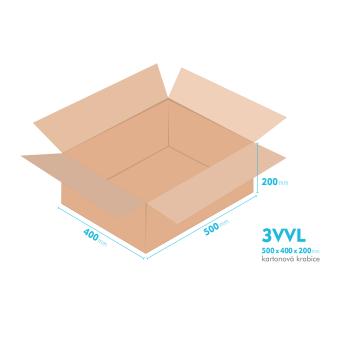 Kartonové krabice 3VVL - 500x400x200mm - vnitřní 495x395x190mm