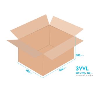 Kartonové krabice 3VVL - 500x400x300mm - vnitřní 495x395x290mm