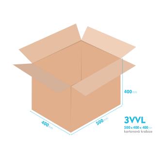 Kartonové krabice 3VVL - 500x400x400mm - vnitřní 495x395x390mm