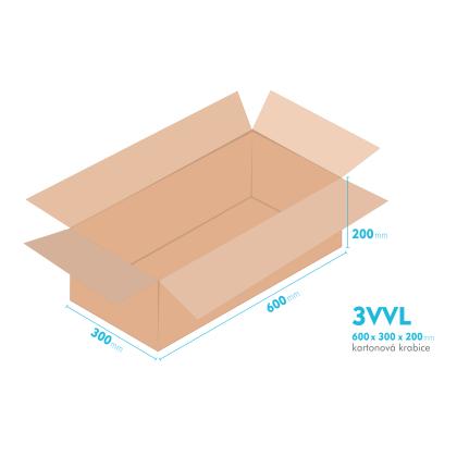 Kartonové krabice 3VVL - 600x300x200mm - vnitřní 595x295x190mm