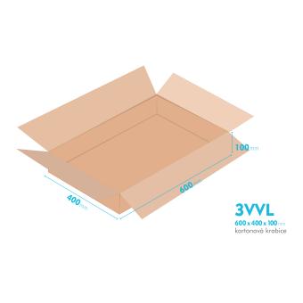 Kartonové krabice 3VVL - 600x400x100mm - vnitřní 595x395x90mm