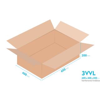 Kartonové krabice 3VVL - 600x400x200mm - vnitřní 595x395x190mm
