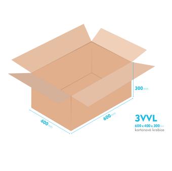 Kartonové krabice 3VVL - 600x400x300mm - vnitřní 595x395x290mm