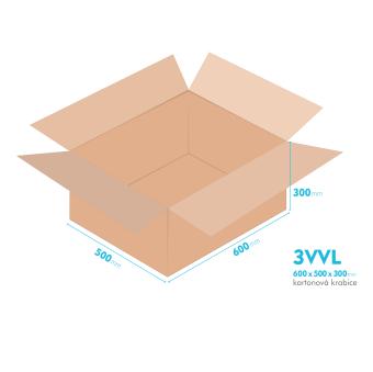 Kartonové krabice 3VVL - 600x500x300mm - vnitřní 595x495x290mm