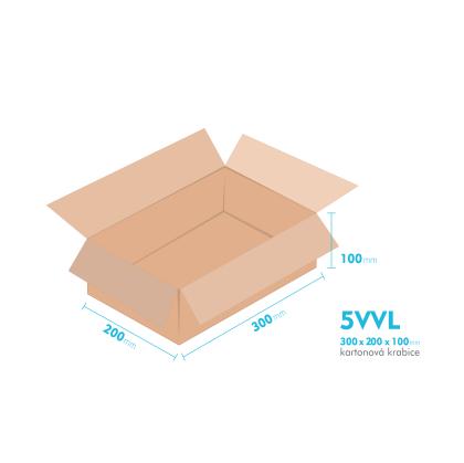 Kartonové krabice 5VVL - 300x200x100mm - vnitřní 294x194x88mm