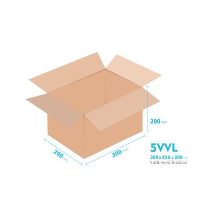 Kartonové krabice 5VVL - 300x200x200mm - vnitřní 294x194x188mm