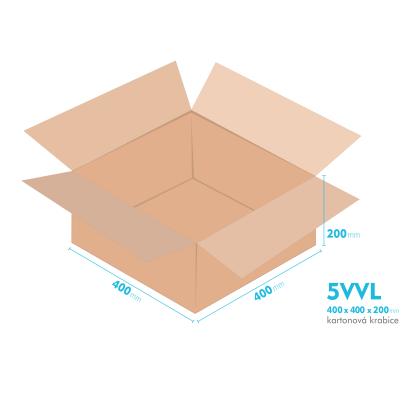 Kartonové krabice 5VVL - 400x400x200mm - vnitřní 394x394x188mm