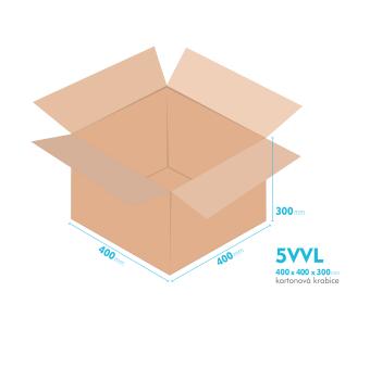 Kartonové krabice 5VVL - 400x400x300mm - vnitřní 394x394x288mm