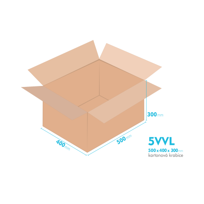 Kartonové krabice 5VVL - 500x400x300mm - vnitřní 494x394x288mm