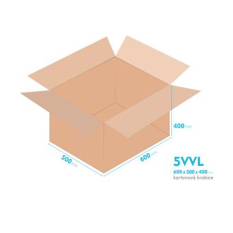 Kartonové krabice 5VVL - 600x500x400mm - vnitřní 594x494x388mm