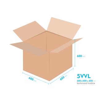 Kartonové krabice 5VVL - 600x600x600mm - vnitřní 594x594x588mm