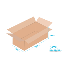 Kartonové krabice 5VVL - 800x400x300mm - vnitřní 794x394x288mm