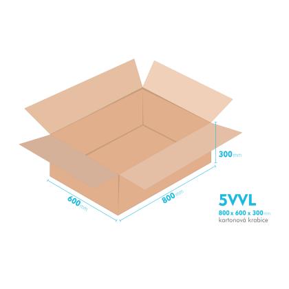 Kartonové krabice 5VVL - 800x600x300mm - vnitřní 794x594x288mm