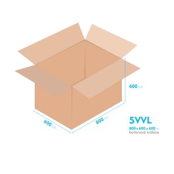 Kartonové krabice 5VVL - 800x600x600mm - vnitřní 794x594x588mm