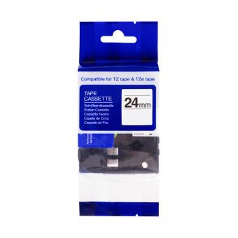 Kompatibilní páska s Brother TZE-SE5Y, 24mm, plombovací laminovaná páska, černý tisk na žlutém podkladu
