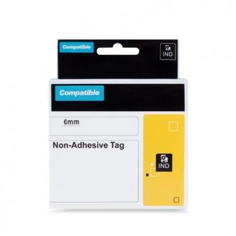 Kompatibilní páska s DYMO 18111 (S0718350), 6mm, černý tisk na bílém podkladu, polypropylenová bez lepidla