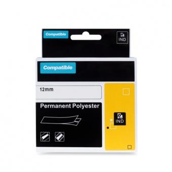 Kompatibilní páska s DYMO 18483, 12mm, černý tisk na bílém podkladu, permanentní polyesterová