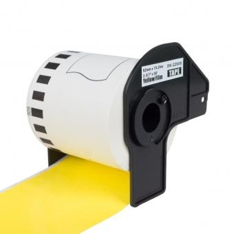 Kompatibilní etikety s Brother DK-22606, žlutá filmová role, 62mm x 15,24m