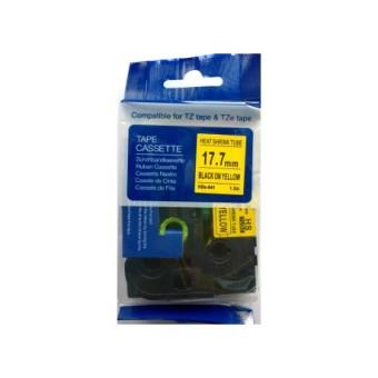Kompatibilní páska s Brother HSE-641, 17,7mm, černý tisk na žlutém podkladu, smršťovací bužírka