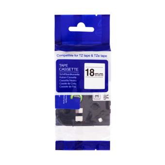 Kompatibilní páska s Brother TZE-FX241, 18mm, černý tisk na bílém podkladu, flexibilní