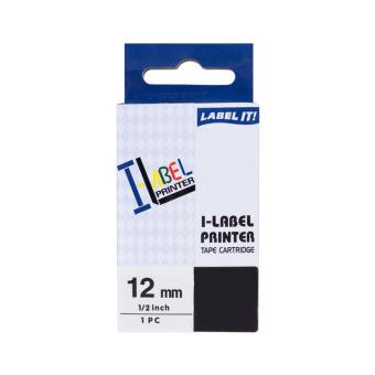 Kompatibilní páska s Casio XR-12WE1, 12mm, černý tisk na bílém podkladu