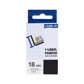 Kompatibilní páska s Casio XR-18WE1, 18mm, černý tisk na bílém podkladu