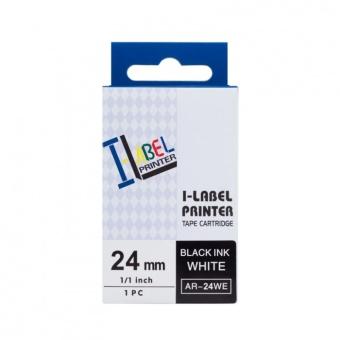 Kompatibilní páska s Casio XR-24WE1, 24mm, černý tisk na bílém podkladu