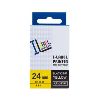Kompatibilní páska s Casio XR-24YW1, 24mm, černý tisk na žlutém podkladu