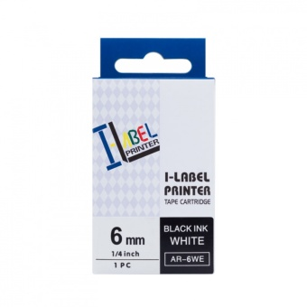 Kompatibilní páska s Casio XR-6WE1, 6mm, černý tisk na bílém podkladu