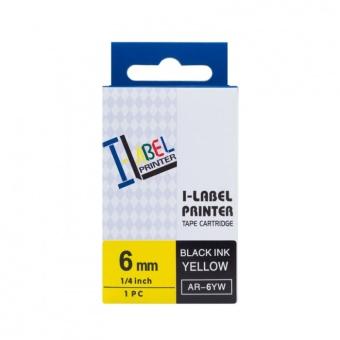 Kompatibilní páska s Casio XR-6YW1, 6mm, černý tisk na žlutém podkladu