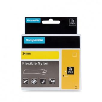 Kompatibilní páska s DYMO 1734525 (S0773850), 24mm, černý tisk na žlutém podkladu, nylonová flexibilní