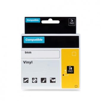 Kompatibilní páska s DYMO 1805437, 9mm, bílý tisk na černém podkladu, vinylová