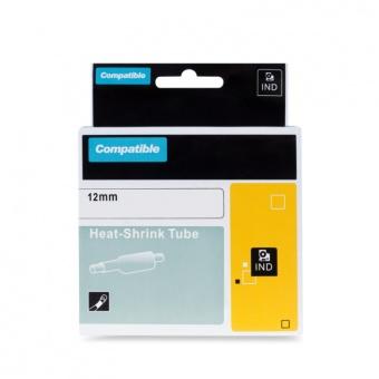 Kompatibilní páska s DYMO 18055 (S0718300), 12mm, černý tisk na bílém podkladu, plochá smršťovací bužírka