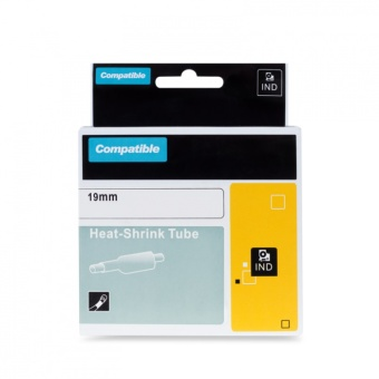 Kompatibilní páska s DYMO 18057 (S0718330), 19mm, černý tisk na bílém podkladu, plochá smršťovací bužírka