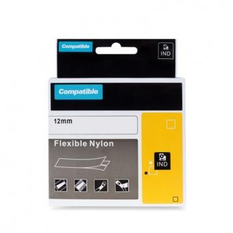 Kompatibilní páska s DYMO 18488, 12mm, černý tisk na bílém podkladu, nylonová flexibilní