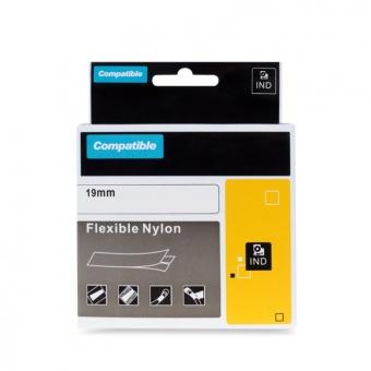 Kompatibilní páska s DYMO 18489, 19mm, černý tisk na bílém podkladu, nylonová flexibilní