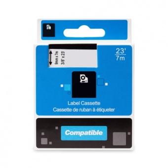 Kompatibilní páska s DYMO 40920, 9mm, bílý tisk na průsvitném podkladu