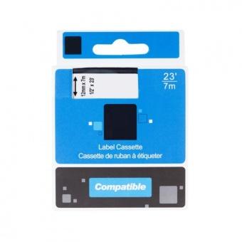 Kompatibilní páska s DYMO 45022 (S072062), 12mm, černý tisk na stříbrném podkladu