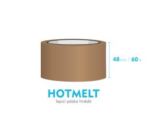 Lepící páska, hnědá - HOTMELT - 48mm x 60m