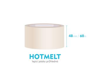 Lepící páska, průhledná - HOTMELT - 48mm x 60m