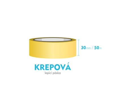 Lepící páska krepová - 30mm x 50m