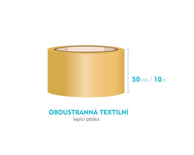 Lepící páska oboustranná - 50mm x 10m - textilní
