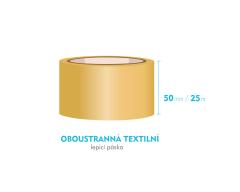 Lepící páska oboustranná - 50mm x 25m - textilní