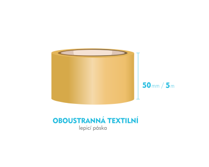 Lepící páska oboustranná - 50mm x 5m - textilní