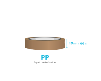 Lepící páska - 19mm x 66m - hnědá